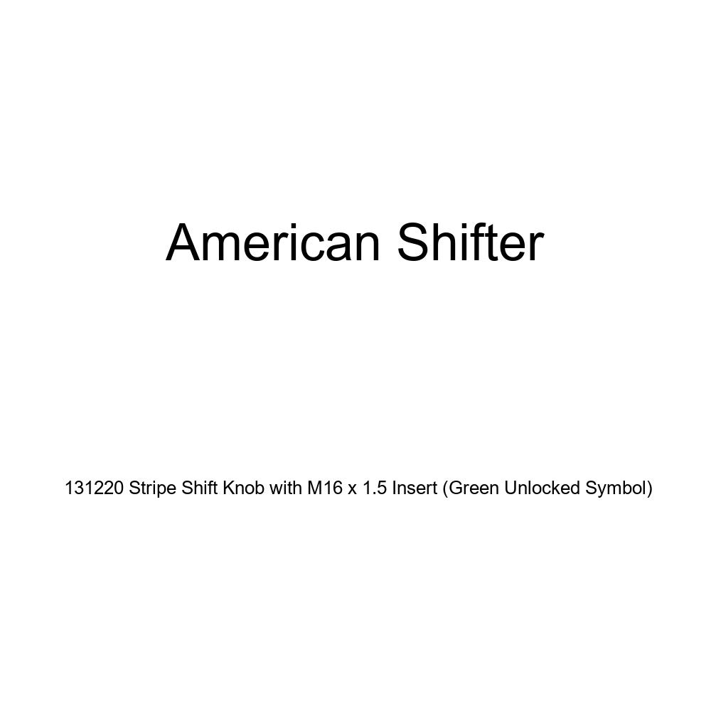 Green Unlocked Symbol American Shifter 131220 Stripe Shift Knob with M16 x 1.5 Insert