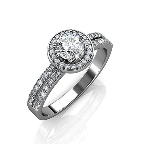 Cate & Chloe Madelyn 18k White Gold Plated Ring w/Swarovski Crystals, Engagement Promise Ring, Silver Solitaire Round Cut Diamond Crystal, Wedding Anniversary Special Occasion Jewelry - (8) MSRP $164