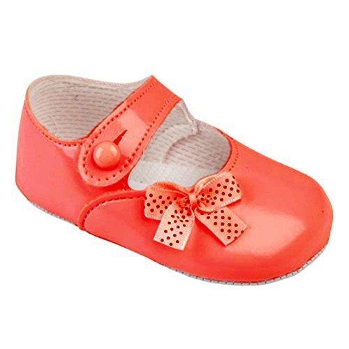Earlydays Baypods - Zapatos del cochecito de niña para una boda o fiesta de bautizo - Punto polca arco Rojo Patente