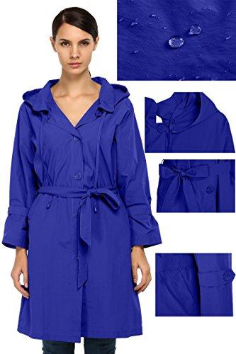 Opino Women's Packable Raincoat Aline Swing Coat Shift Slim Hooded Rain Jacket