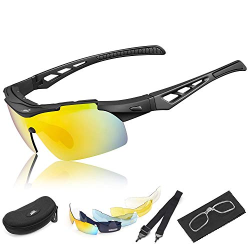HiHiLL Polarized Sports Sunglasses for Men Women, Driving Sun Glasses with 5 Interchangeable Nylon Lens and Unbreakable PC Injection Frame with Rubber Mats for Cycling, Climbing, Sports, Driving ()