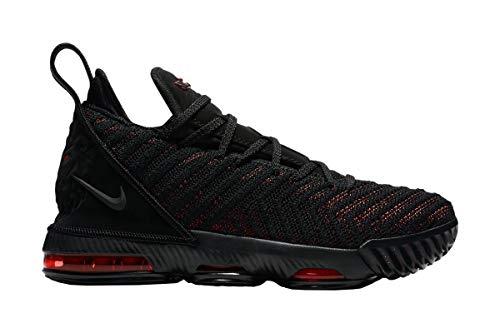 Nike Kids Lebron XVI GS, Black/Black-University RED, Youth Size 6.5