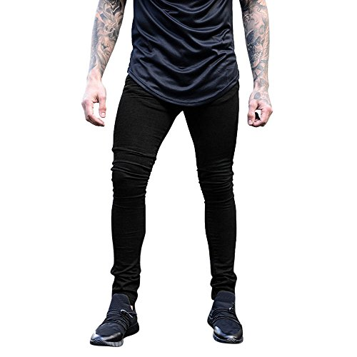 VPASS Pantalones Vaqueros para Hombre,Pantalones Casuales Solid Color Moda Deportivos Running Pants Skinny Elasticos Pantalon Fitness Jeans Largos Pantalones Ropa de Hombre
