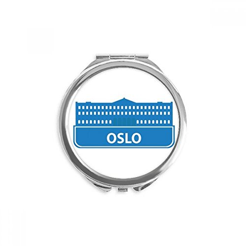 Oslo Norway Blue Landmark Pattern Mirror Round Portable Hand Pocket ()