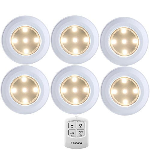 Puck Lights with Remote Control, Ellishang 6 Pack LED Tap Lights Battery-powered Wireless Night Lights Kitchen Under Cabinet Lighting,Stick on Push Lights for Closets,Pantries (Warm-white))