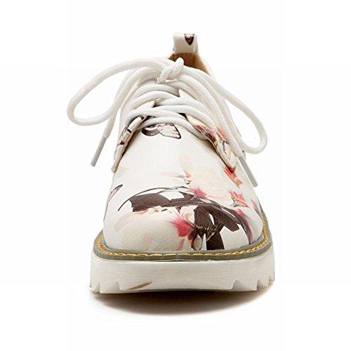 Mee Shoes Damen süß Stoffdruck Geschlossen Schnürhalbschuhe Weiß