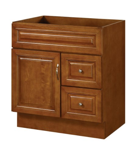 UPC 802062114837, Hardware House LLC H11-4837 Manchester Collection 30-Inch Vanity with 1-Door and 2 Drawer, Chestnut Finish