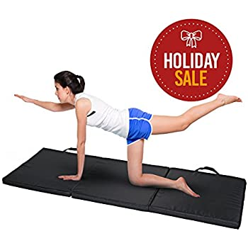 Basics Hardware 3-Fold Gym Mat with Carry Handles, Tri-Fold Stretch Mat, Portable, 2-inch