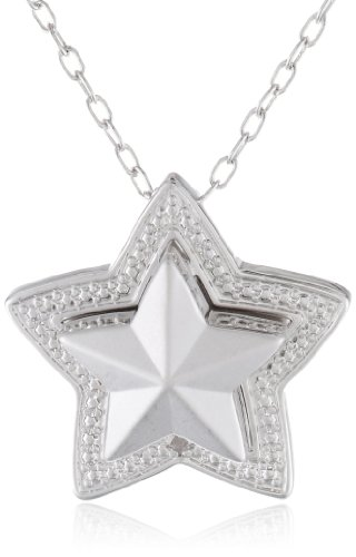 "Bronze and Fine Silver Plated Matte Finish Star Locket with ""Wish"" Hidden Message Pendant Necklace, 18"""