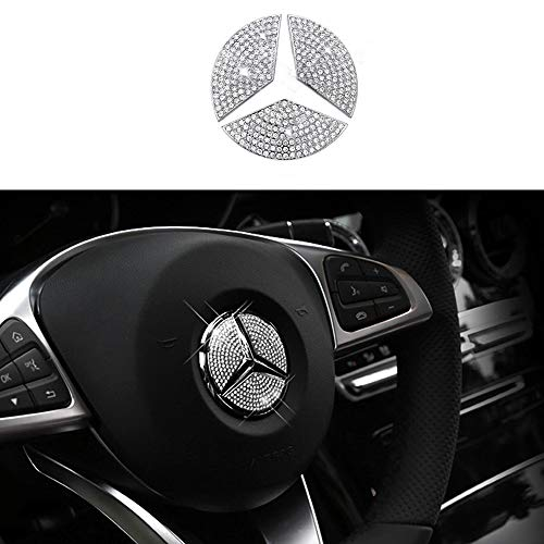 TopDall Steering Wheel Unique Crystal Badge Emblem Overlay Decal Decoration Cover Sticker Trim for Mercedes-Benz A, B,C, E, S, CLA, GLA, GL, ML, GLE, GLC,GLK Class