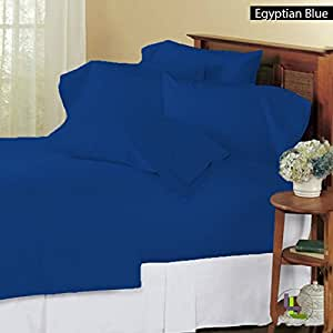 100% Egyptian Cotton Solid Pattern 9 inches Deep Pocket Six {6} PC Bedding Sheet Set 550 Thread Count ( Full XL , Butter ) .