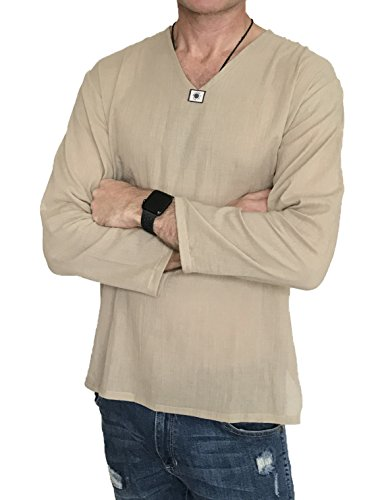 Love Quality Men's Summer T-Shirt 100% Cotton Hippie Shirt V-Neck Beach Yoga Top (Medium, Beige) by Love Quality