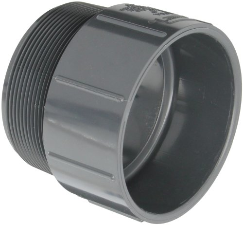 """Spears 436-G Series PVC Pipe Fitting, Adapter, Schedule 40, Gray, 4"""" NPT Male x 4"""" Socket"""