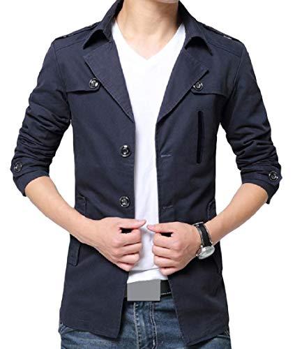 Lapel Plus Outwear Jacket Button Size Pattern1 EnergyMen Cotton Warm Solid Washed q467YAw