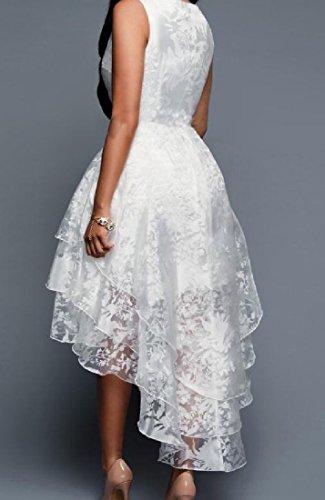 Dress Sexy Solid Irregular Comfy Cocktail Womens Mesh White Flayers Elegant IxqqU8Awt