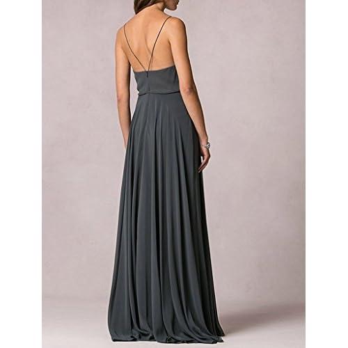 51b72a128ed 70%OFF Lafee Bridal V-Neck Spaghetti Straps Long Chiffon Beach Wedding  Bridesmaid Dress