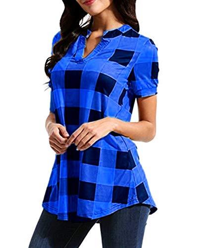 Chemises Chemise Longues T Activewear Chemises Spring col Shirt Manches Scothen de T de Formation Yoga athltiques Blue Dbardeurs Hauts Bouton Tops pour Femmes Rond Shirts xwTTqap78