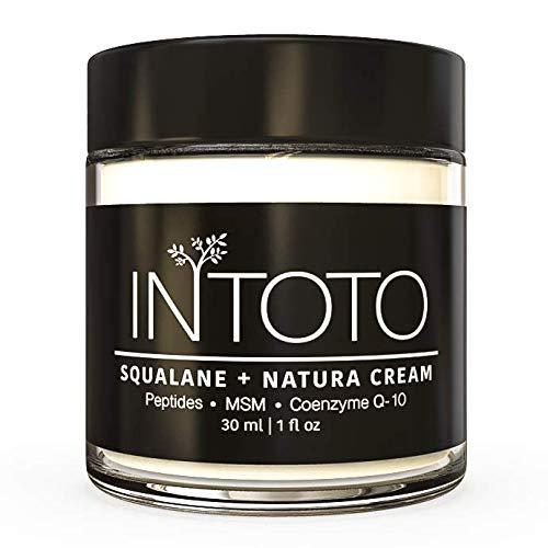 INTOTO Skincare SQUALANE + NATURA CREAM | For Face, Eyes & Neck | Peptides, Squalane, CoQ10, MSM | Moisturizes, Firms, Refreshes Damage & Wrinkles | USA Made | Women & Men | 30 ml | 1 fl oz