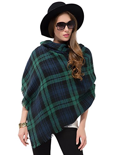 Leggings Wool Plaid (Dimore Large Tartan Checked Plaid Scarf Shawl for Womens (Dark Green))