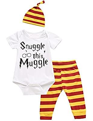 iCrazy 3Pcs Outfit Set Baby Boy Girl Infant Snuggle This Muggle Rompers