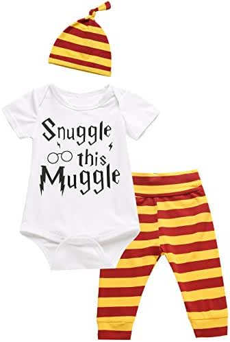 3Pcs/ Outfit Set Baby Boy Girl Infant Snuggle this Muggle Rompers