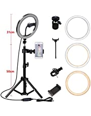 $69 » Leoneva 10 Inch LED Video Ring Light Lamp 3 Lighting Modes Dimmable with Phone Clip Macro & Ringlight Flashes