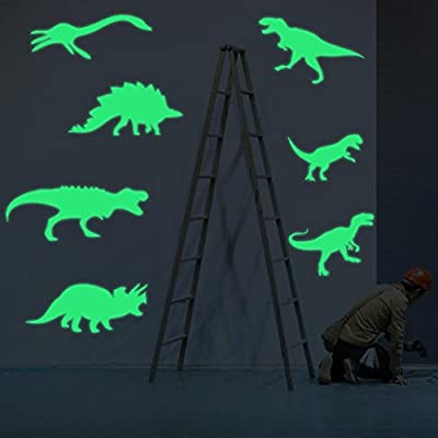 Iuhan 8pcs Dinosaurs Wall Decals Fluorescence Stickers Glow in The Dark, Children's Room Nursery Removable Wall Stickers Murals