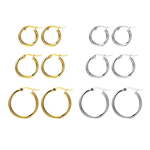 Pusheng 6 Pairs Stainless Steel Hoop Earrings for Women Assorted Size Silver Gold Set