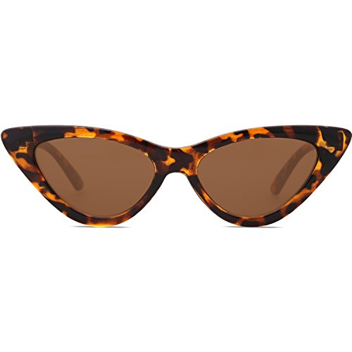 SOJOS Retro Vintage Narrow Cat Eye Sunglasses for women Clout Goggles Plactic Frame Cardi B with Tortoise Frame/Brown Lens