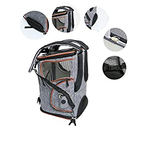 "ICOSPET Soft-Sided Pet Carrier Backpack for Small Dogs and Cats Airline-Approved, Designed for Travel, Hiking, Walking & Outdoor Use 17""T11""WD11"""