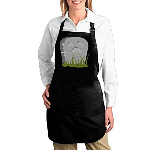 Cool Apron Funny Halloween Gravestone Professional Bib Apron with Pockets for Women Men Adults Waterproof Natural Cooking Aprons White Aprons for Women ()