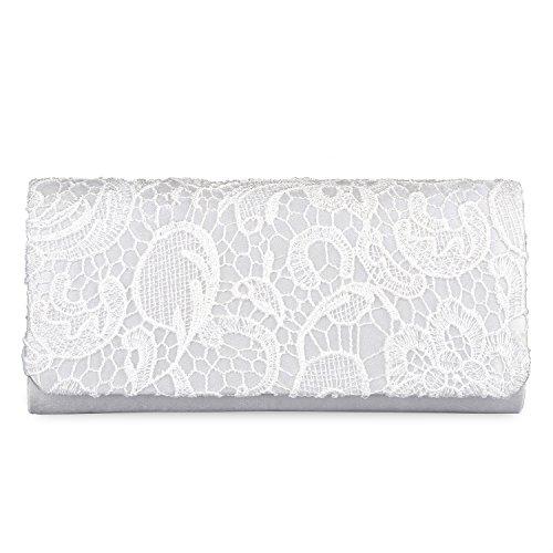 Purse Lifewish White Party Handbag Clutch Purse Bridal Women's Evening Wedding Lace Floral Bags OIxZqAO