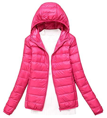 (Femaroly Lady Autumn Winter Ultra-Light Packable Down Puffer Jacket Short Warm Coat Hood Rose XXL)