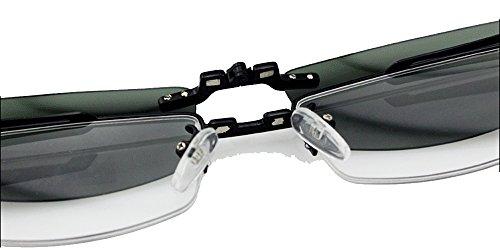6ee68b83048 Agstum Mens Half Rimless Myopia Glasses Frame Magnetic Clip On Sunglasses (Black  frame with 2pcs