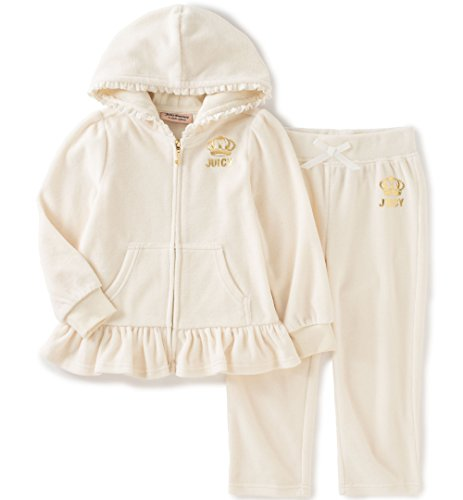 - Juicy Couture Big Girls' 2 Piece Velour Hooded Jacket and Pant Set, Vanilla, 7