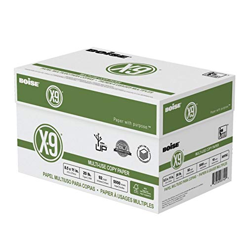 Boise X-9 Multi-Use Copy Paper, Letter Paper Size, 20 Lb, White, FSC Certified, 500 Sheets Per Ream, Case of 10 Reams