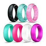 ALEXTINA 5.7MM 7 Pack Silicone Rings Rubber Wedding Band for Sport, Gym Size 7