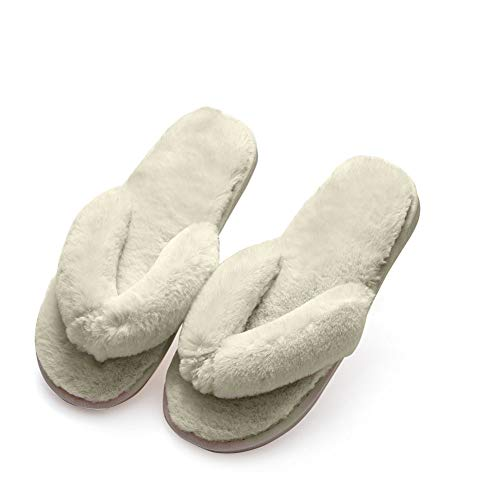 White Bath Slippers - White Flip Flop Slippers Fuzzy Fluffy Faux Fur House SPA Cute Open Toe Slippers for Women Girl/Women6-6.5 Men5.5-6