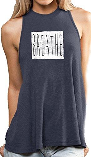 Cheap Yoga Clothing For You Ladies Breathe Mock Neck Tank, Medium Azul