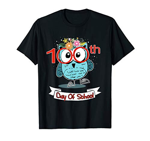 Cute Owl 100th Day Of School T-shirt 100 Days Smarter Tee ()
