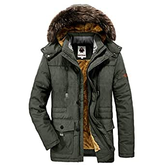 Yavero Men's Faux Fur Lined Winter Coat Detachable Hood