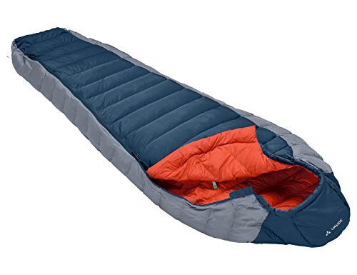 VAUDE Cheyenne 350 - Very Lightweight & Comfortable Down Sleeping Bag - Mummy Shape - Perfect for Backpacking, Hiking and Camping - 2 Season for Late Spring to Early Autumn Use - Baltic Sea ()