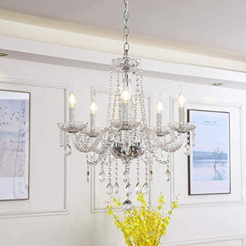 Riomasee Chandelier Modern Elegant K9 Crystal Candle Chandeliers with Clear Glass 5 Lights Hanging Ceiling Lighting Fixture for Bedroom,Dining,Living Room