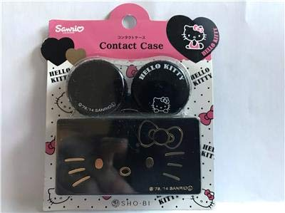 New Sanrio HELLO KITTY Deluxe Contact Lens Case (Black Gold) Imported from JAPAN