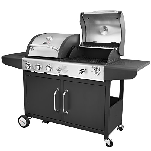 Combination Grill Gas - Royal Gourmet 3-Burner Cabinet Gas Grill and Charcoal Grill Combo, Black