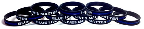 12 Pack of BLUE LIVES MATTER Thin Blue Line Rubber Wristband Silicone Bracelet (Black, Adult (8