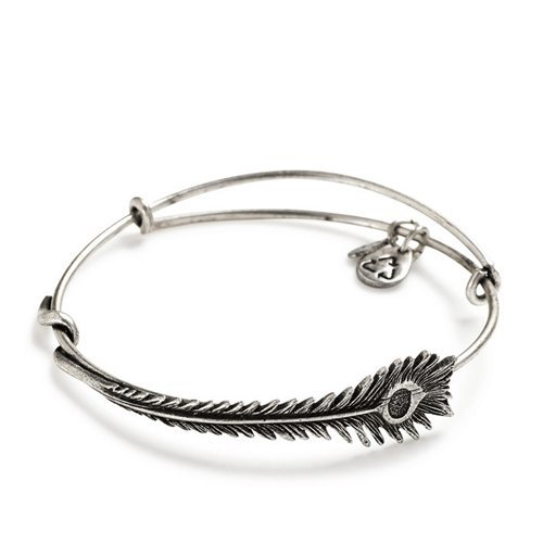 Alex and Ani Peacock Feather Wrap Expandable Bangle Bar Bracelet