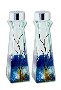 Glass Salt and Pepper Shakers Blue Green Amber White Set of 2