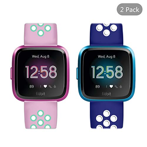 LittleForest [2 Pack] Silicone Bands Set Compatible for Fitbit Versa Lite/Fitbit Versa Band, Soft Sport Silicone Replacement Wristband with Two-Tone [Blue&White + Pink&Green]