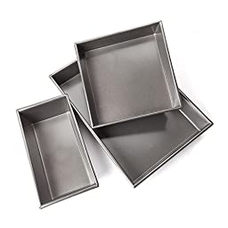 FortheChef\'s 3 Piece Deluxe Professional Non-Stick Cake Pan Set